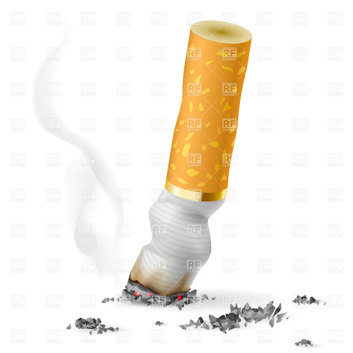 Skull with crossed cigarettes as symbol of smoking danger Vector.