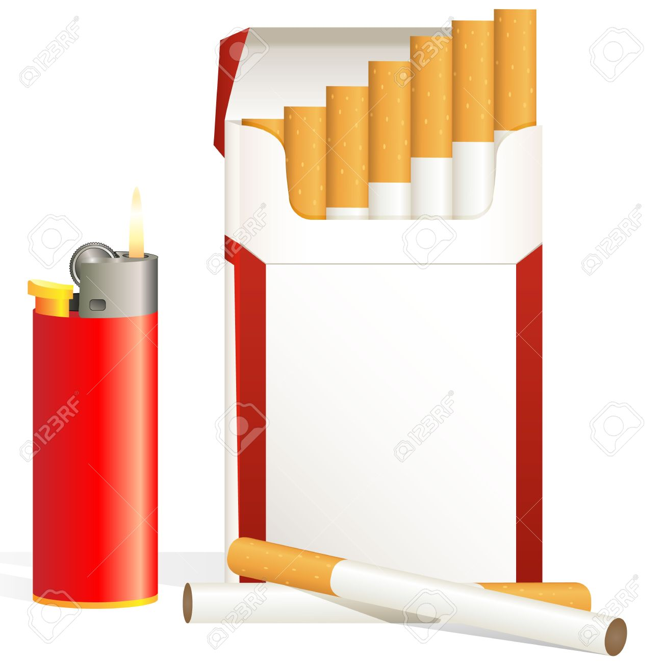 Cigarette Pack And Red Cigarette Lighter Royalty Free Cliparts.