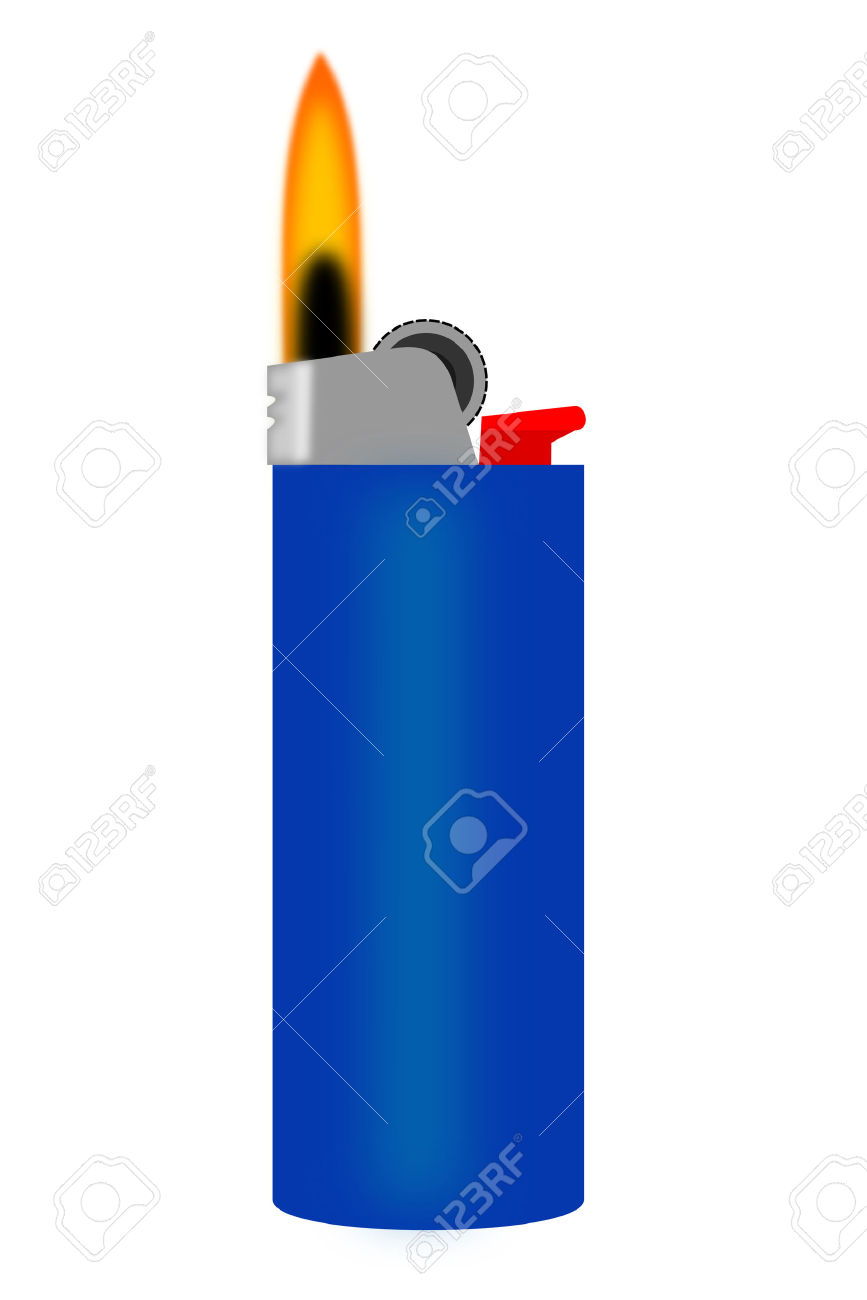 A Blue Cigarette Lighter With Flame Royalty Free Cliparts, Vectors.