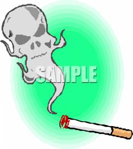 Skull In Cigarette Smoke Clip Art Image.