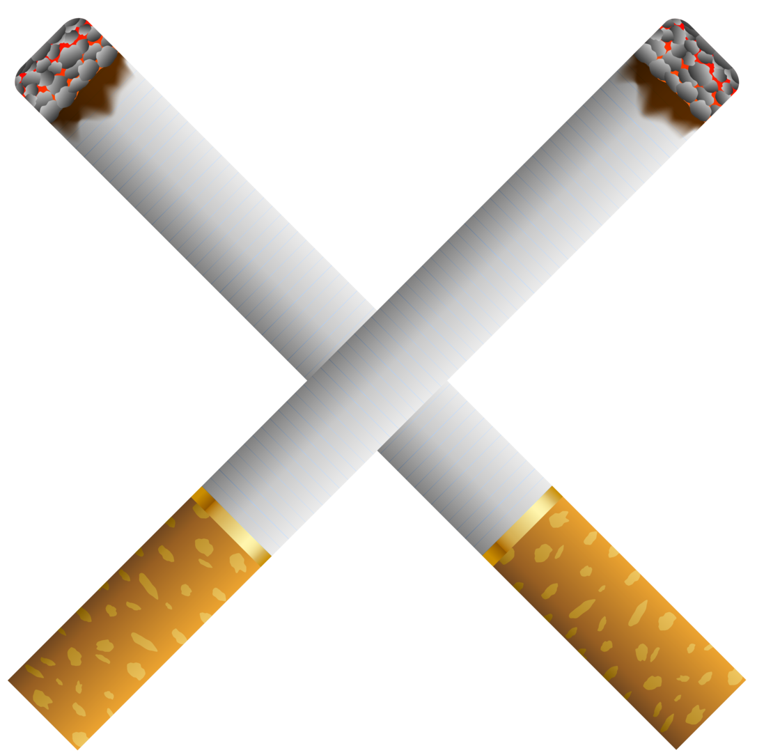 Two Crossed Cigarettes PNG Clipart.