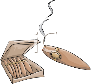Royalty Free Clip Art Image: Box of Cigars with a Lit Cigar.