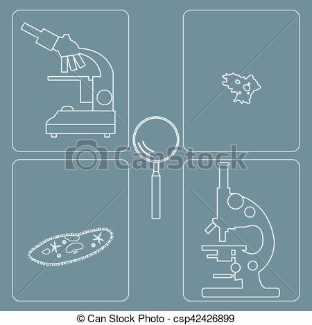 EPS Vectors of Stylized icons of microscopes, magnifier, amoeba.