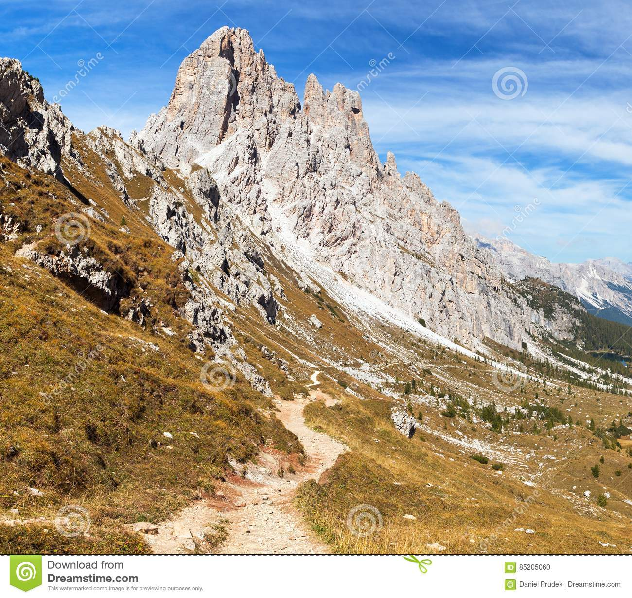 Cima Ambrizzola And Croda Da Lago With Pathway Stock Photo.