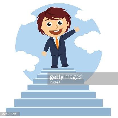 Hombre en la cima de una escalera Clipart Image.