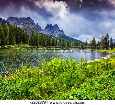 Stock Photo of Beautiful morning on lake Antorno, Italy Alps, Tre.