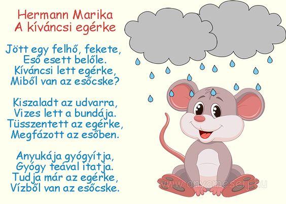 Hermann Marika: A kíváncsi egérke című mesés verse.