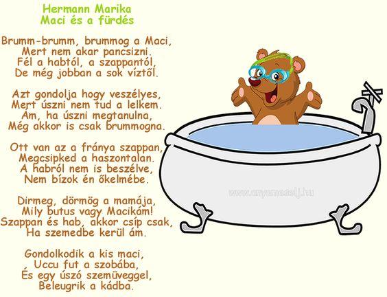 Hermann Marika: Maci és a fürdés című gyermek verse.