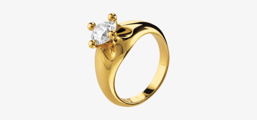 Corona 18 Kt Yellow Gold Solitaire Ring Set With A.