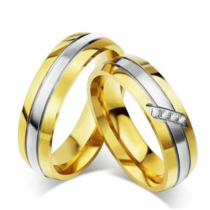 Jual Cincin couple Nikah gold permata cincin perhiasan impor bahan Titanium.