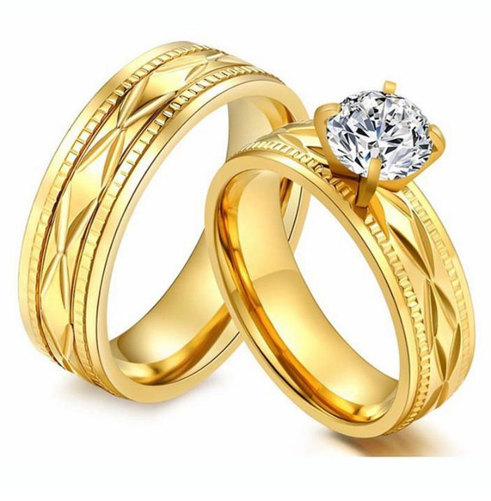 Jual cincin couple tunangan gold permata perhiasan cincin kawin Titanium.