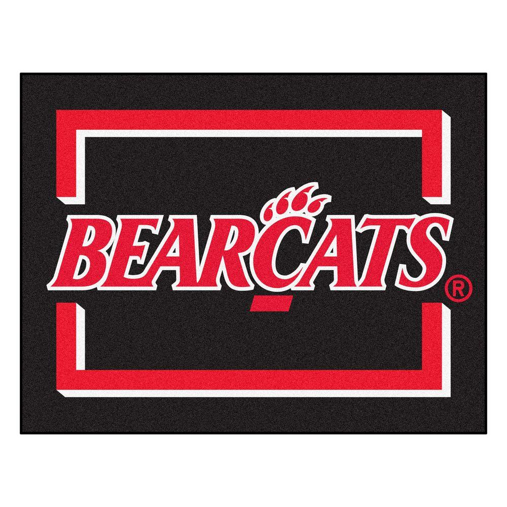 FANMATS NCAA University of Cincinnati Bearcats Logo Black 3 ft. x 4 ft.  Area Rug.