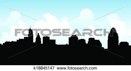 Clip Art of Cincinnati Skyline k18845147.