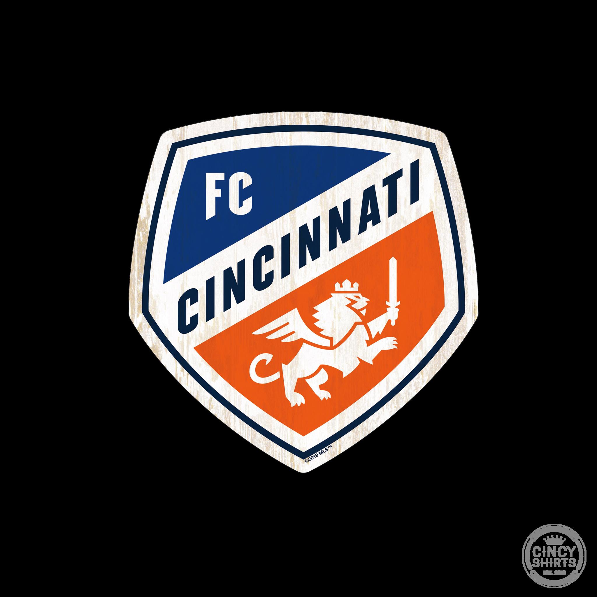 Official FC Cincinnati Crest Logo Wood Sign.