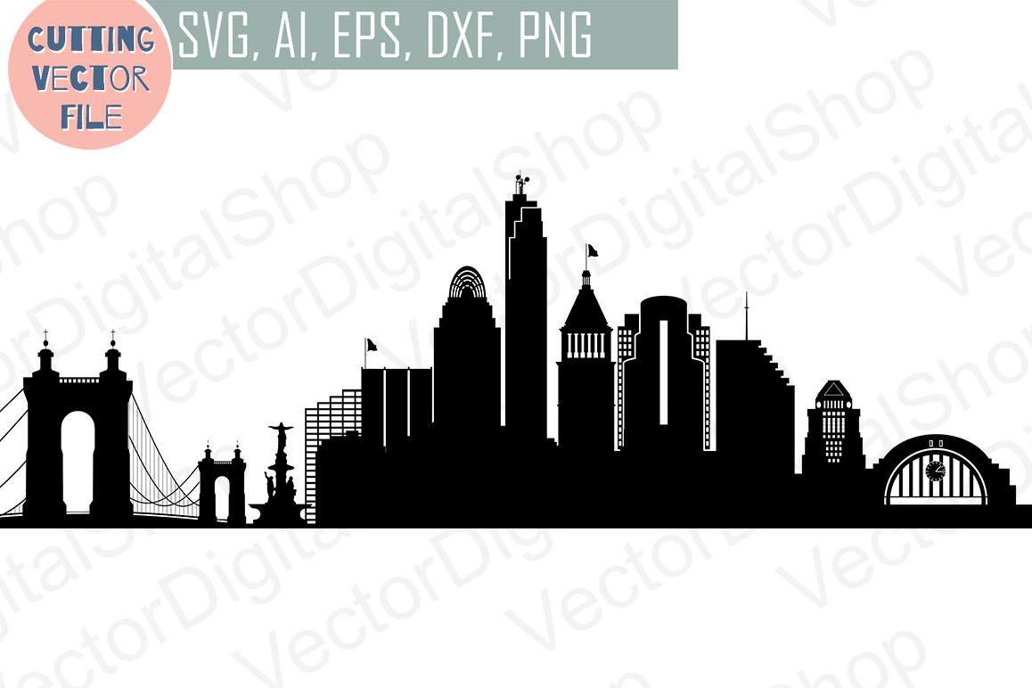 Cincinnati SVG, Ohio City Vector Skyline, silhouette USA city, SVG, JPG,  PNG, DWG, CDR, EPS, AI.
