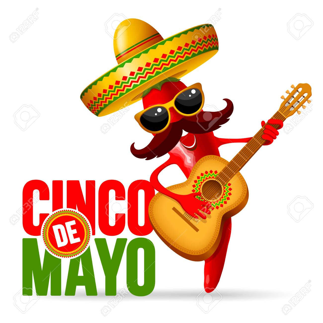 Cinco de Mayo design with lettering, and cheerful red pepper...