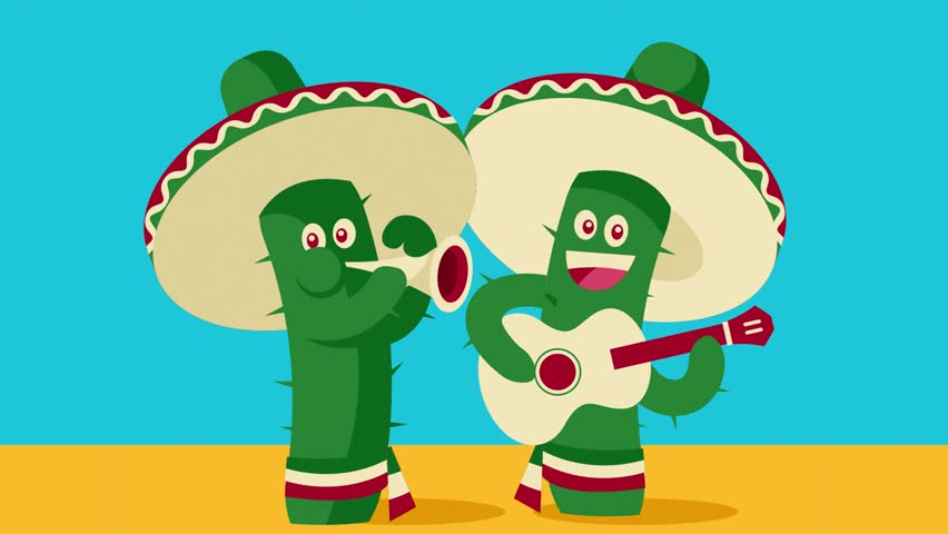 Cinco De Mayo Cactus Mariachis Stock Footage Video (100% Royalty.