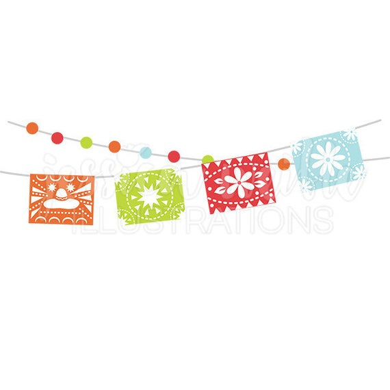 Fiesta Party Banner Cute Digital Clipart, Cinco De Mayo Clip art, Fiesta  Bunting Graphic, Mexican Party Garland Illustration, #1619.