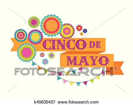 Cinco de mayo, Mexican fiesta banner and poster design with flags,  decorations, Clip Art.