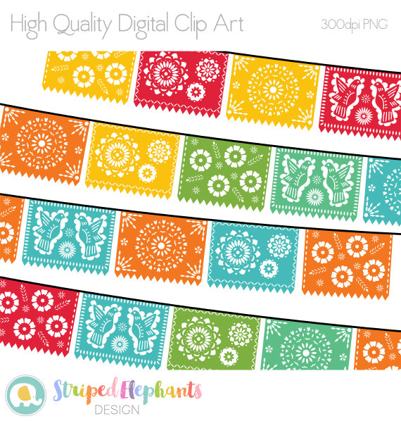 Papel Picado Clipart, Digital Fiesta Mexican Banners Clip Art, Cinco.