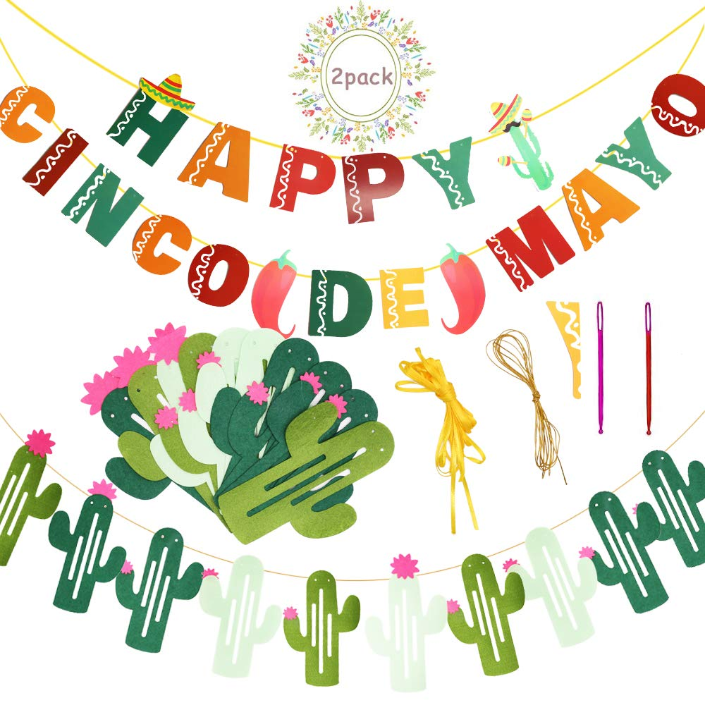 Happy Cinco de Mayo Banners String Cactus Banner Garland for Mexican Fiesta  Themed Summer Party Decoration Supplies.