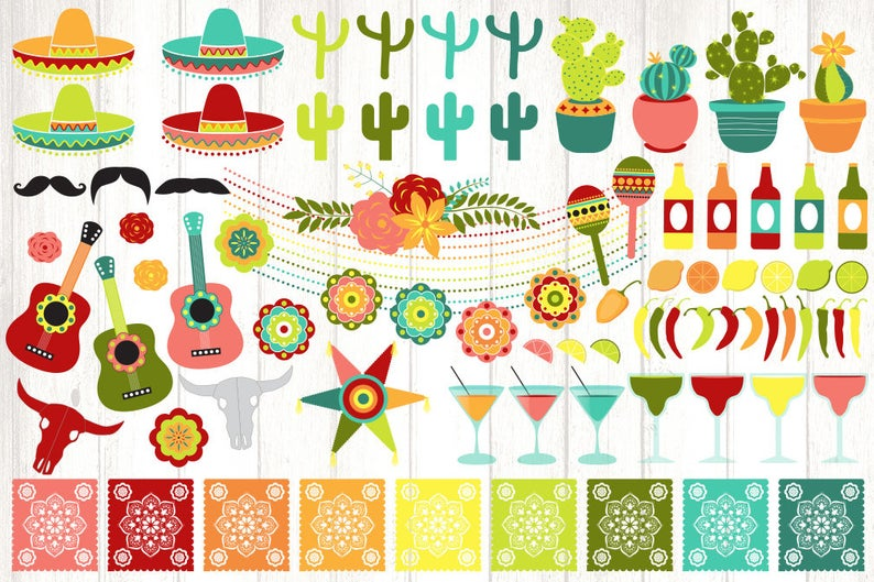 Cinco de Mayo Clipart in vector format with Mexican fiesta beer banners and  sombreros, cactus string lights and maracas with eps included.
