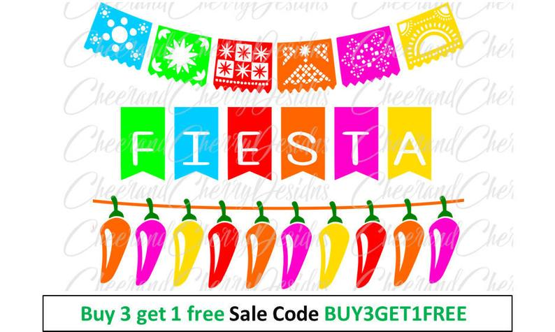 50% OFF SALE Party banner clipart Cinco de mayo download Fiesta banner  printable bunting SVG Papel picado art Silhouette Cricut Cut File.