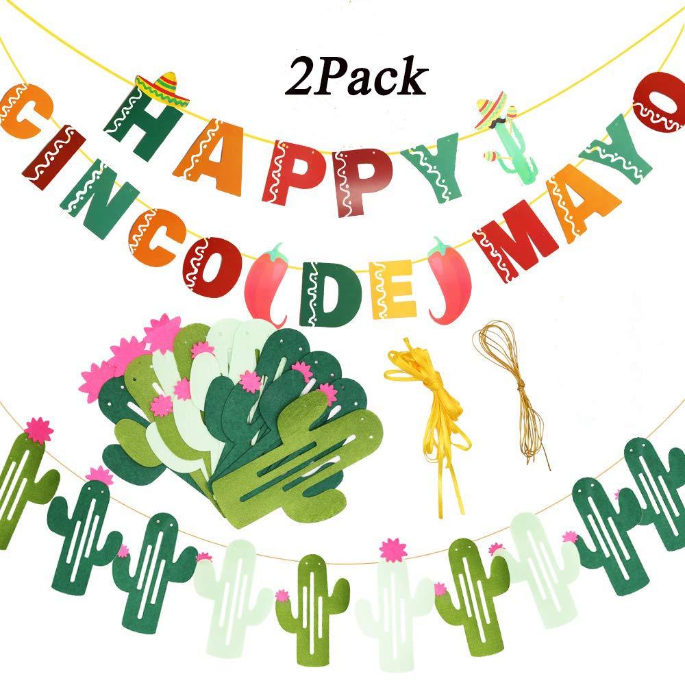 Amazon.com: Cactus Banner Garland and Happy Cinco de Mayo.