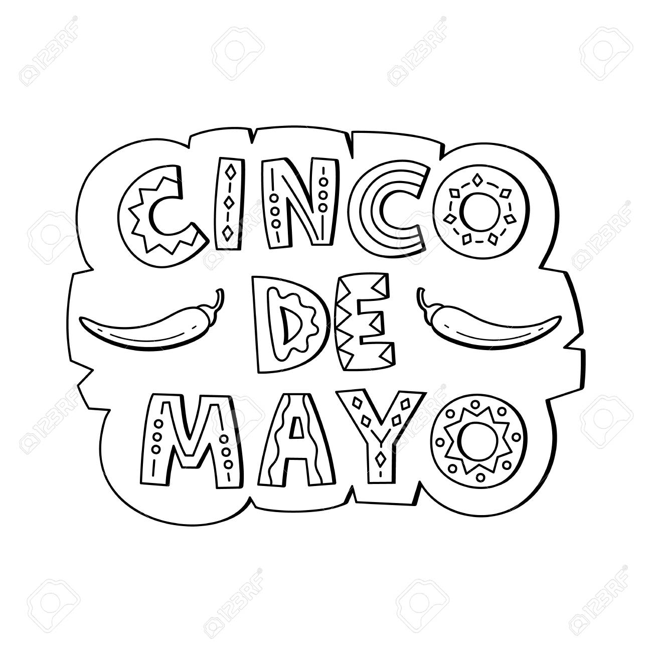 Cinco De Mayo hand drawn lettering design. Vector illustration...