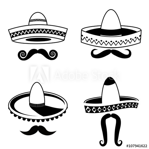Cinco De Mayo sombrero and mustache black and white collection.