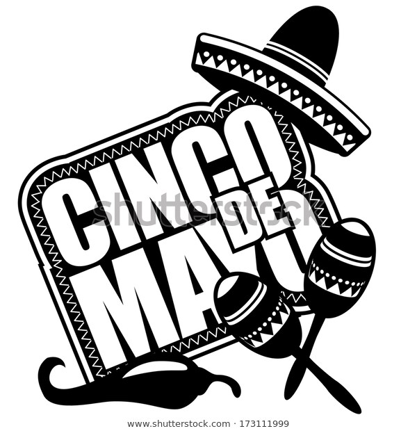 Black White Cinco De Mayo Icondesign Stock Vector (Royalty Free.