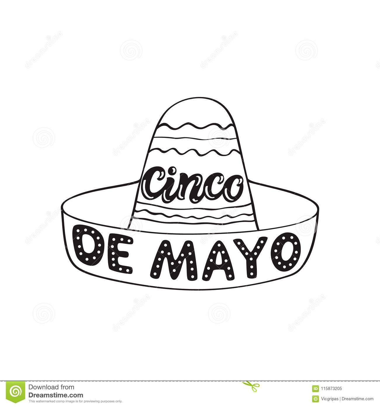 Cinco De Mayo Hand Drawn Typography Stock Vector.