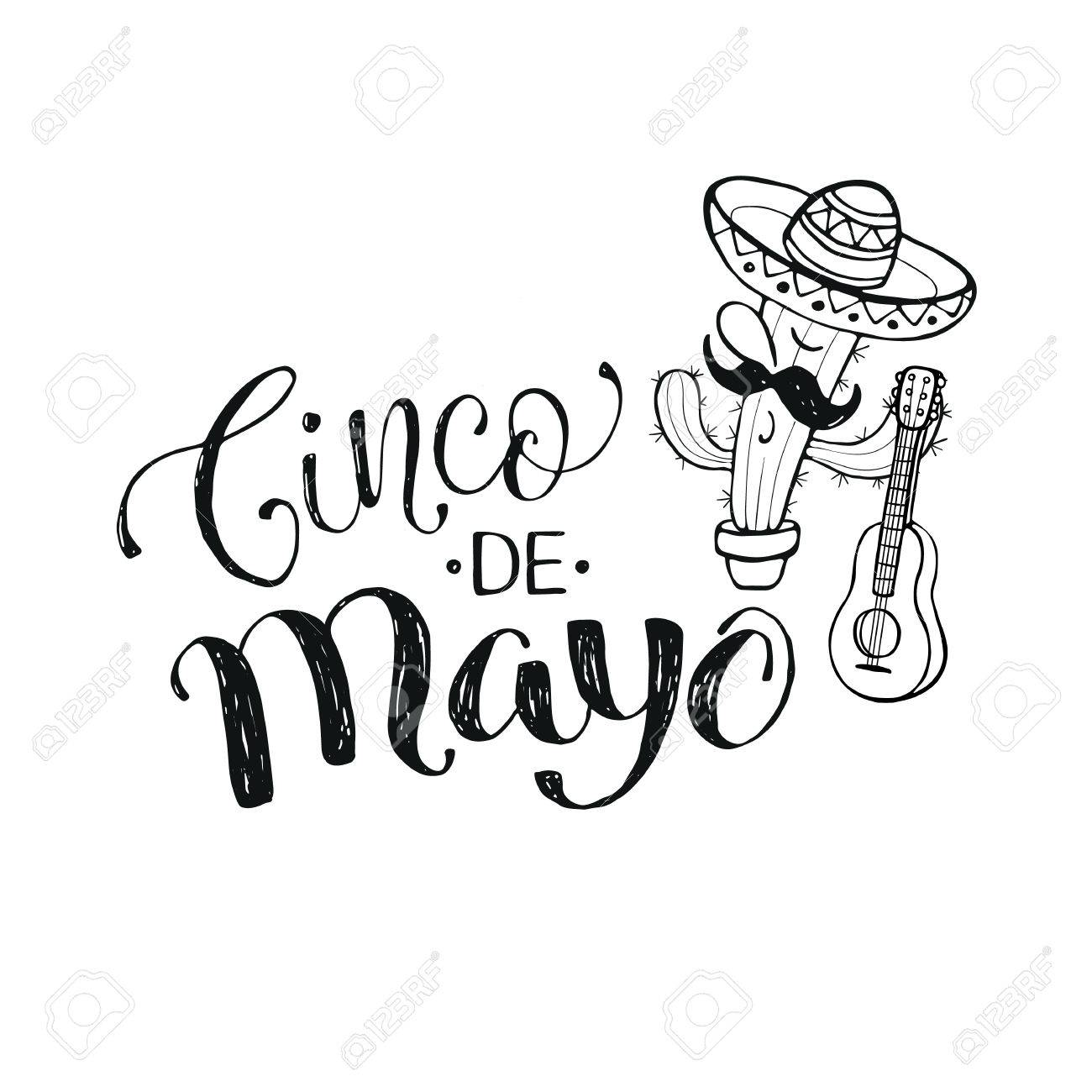 Funny Cinco de Mayo illustration with calligraphic text. Cartoon...