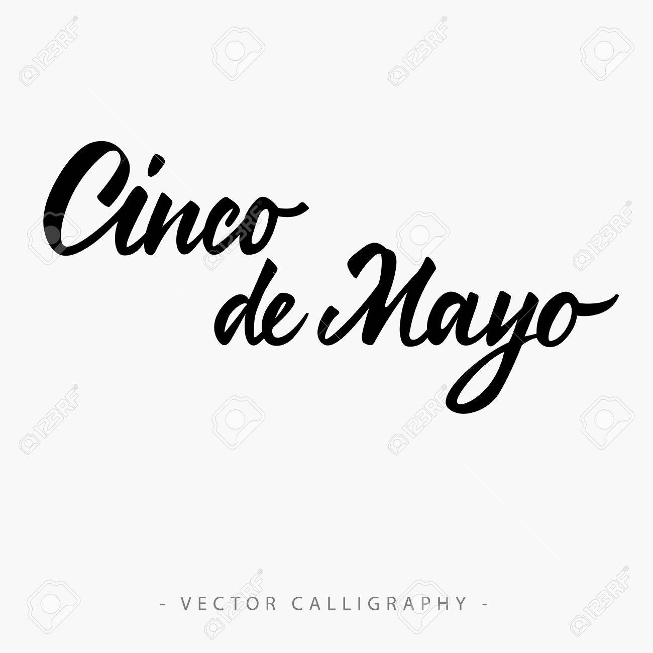 Black cinco de mayo inscription isolated on white background.