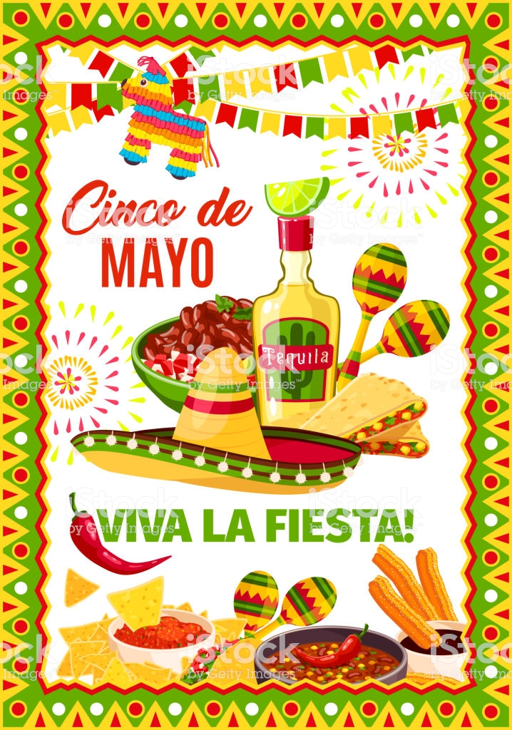 Cinco De Mayo Mexican Vector Fiesta Greeting Card Stock Illustration.