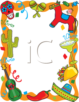 Royalty Free Clipart Image of a Mexican Themed Border.