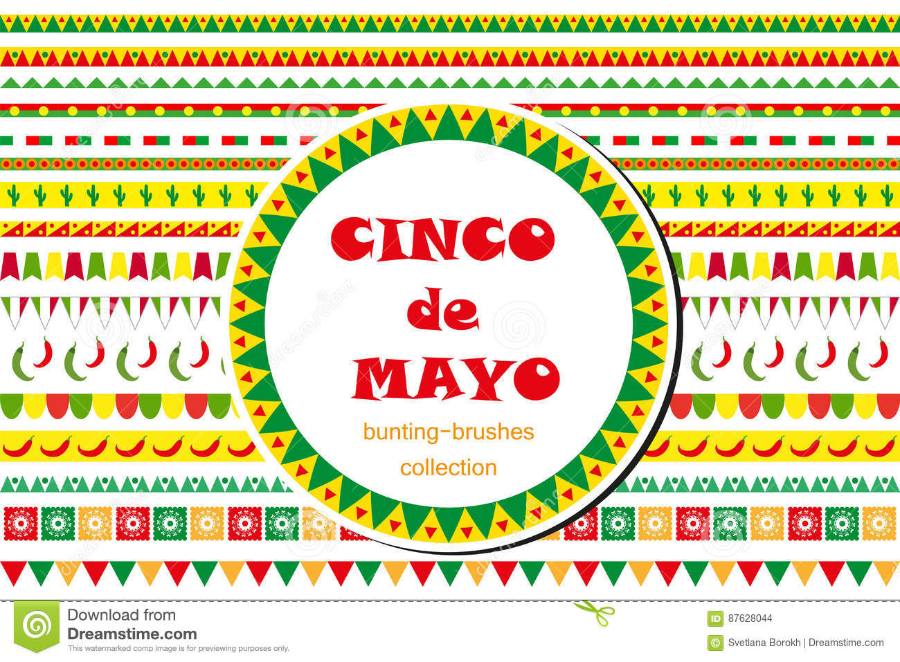 Cinco De Mayo Celebration Set Of Borders, Ornaments, Bunting. Flat.