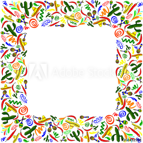 Mexican symbols vector greeting card, wedding or party.