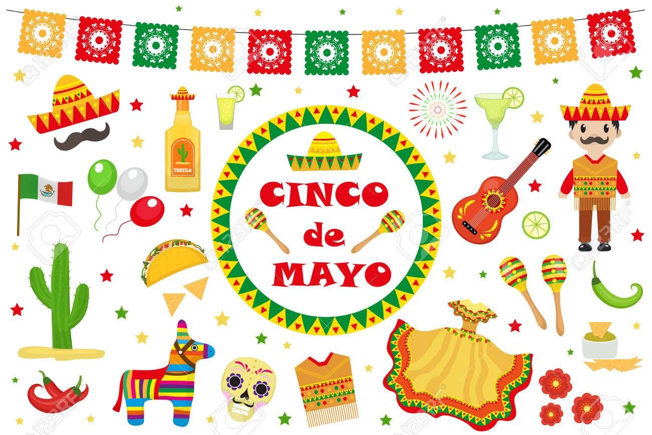 Cinco de Mayo celebration in Mexico, icons set, design element,...