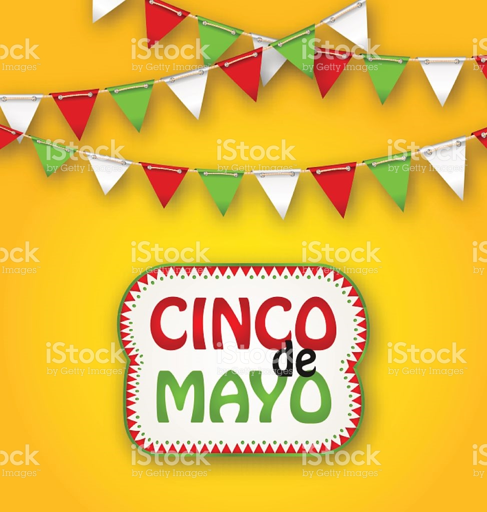 Cinco De Mayo Holiday Bunting Background Mexican Poster stock.