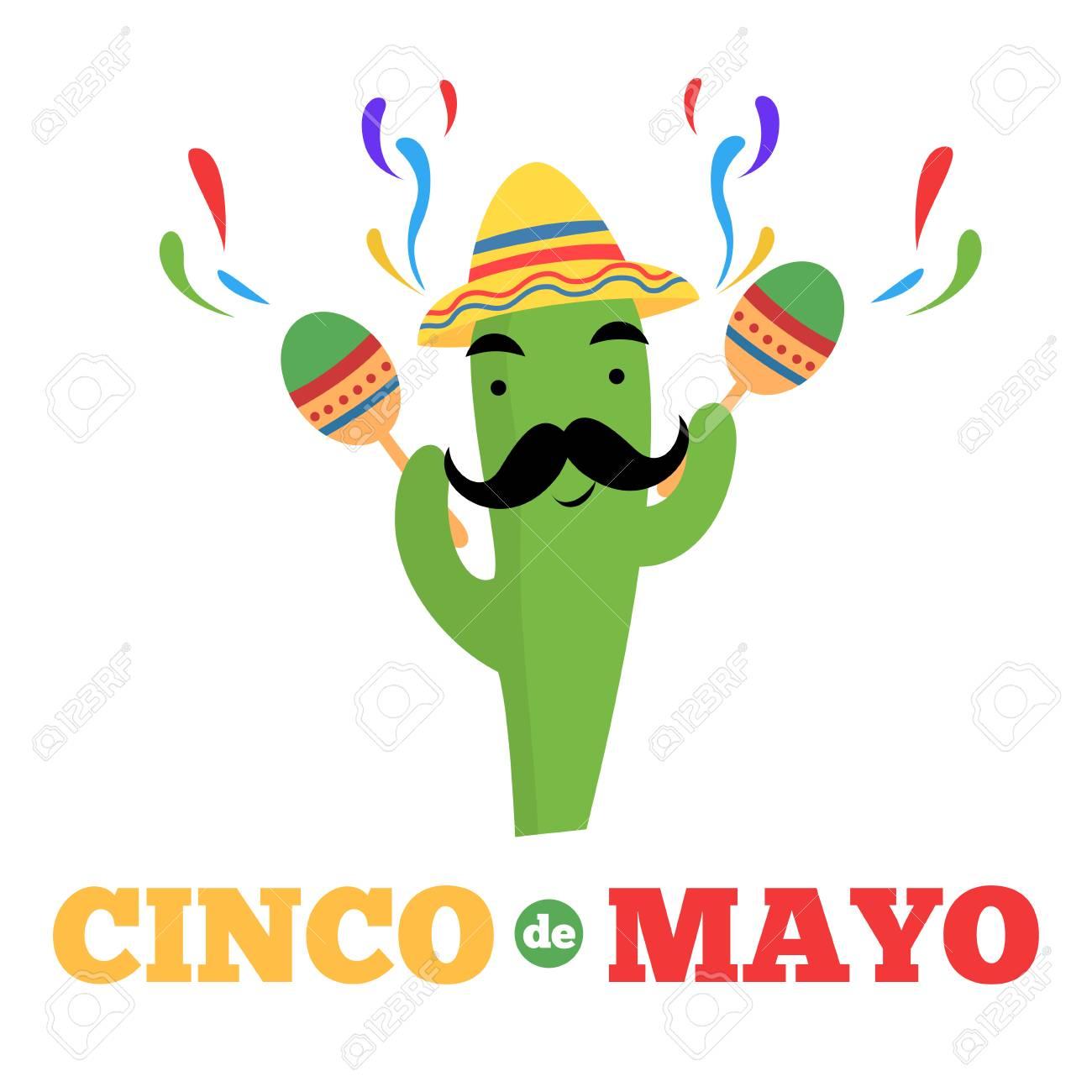 Mexican cactus cartoon character cinco de mayo banner.