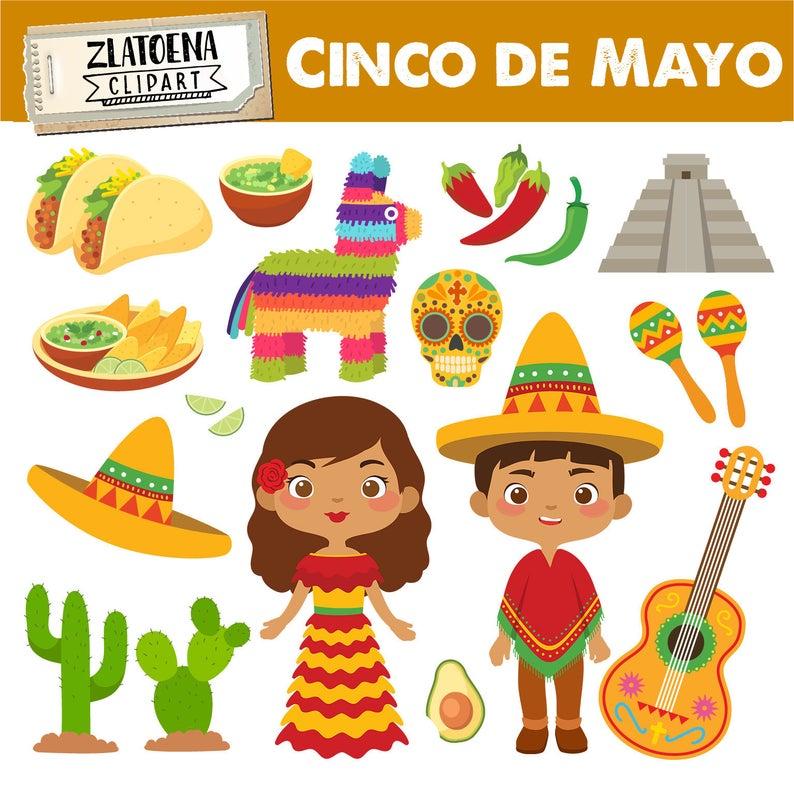 Mexican clip art Cinco de Mayo clipart Fiesta clipart Sombrero Taco Mexican  Fiesta graphics Digital Mexican Party Clip Art Pinata Maracas.