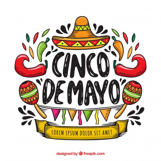Cinco de mayo background with mexican elements Vector.