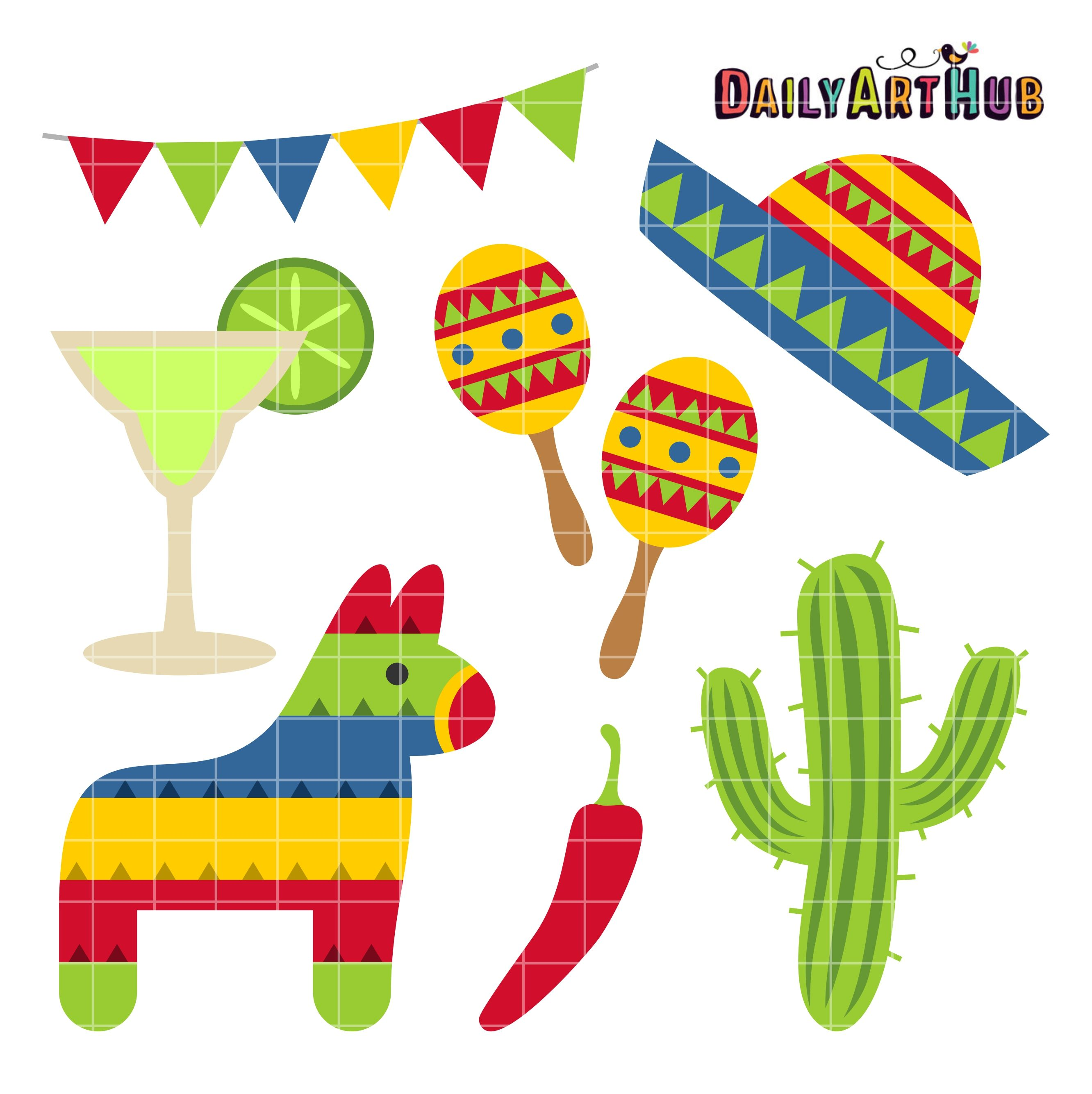 Cinco de Mayo Clip Art Set.