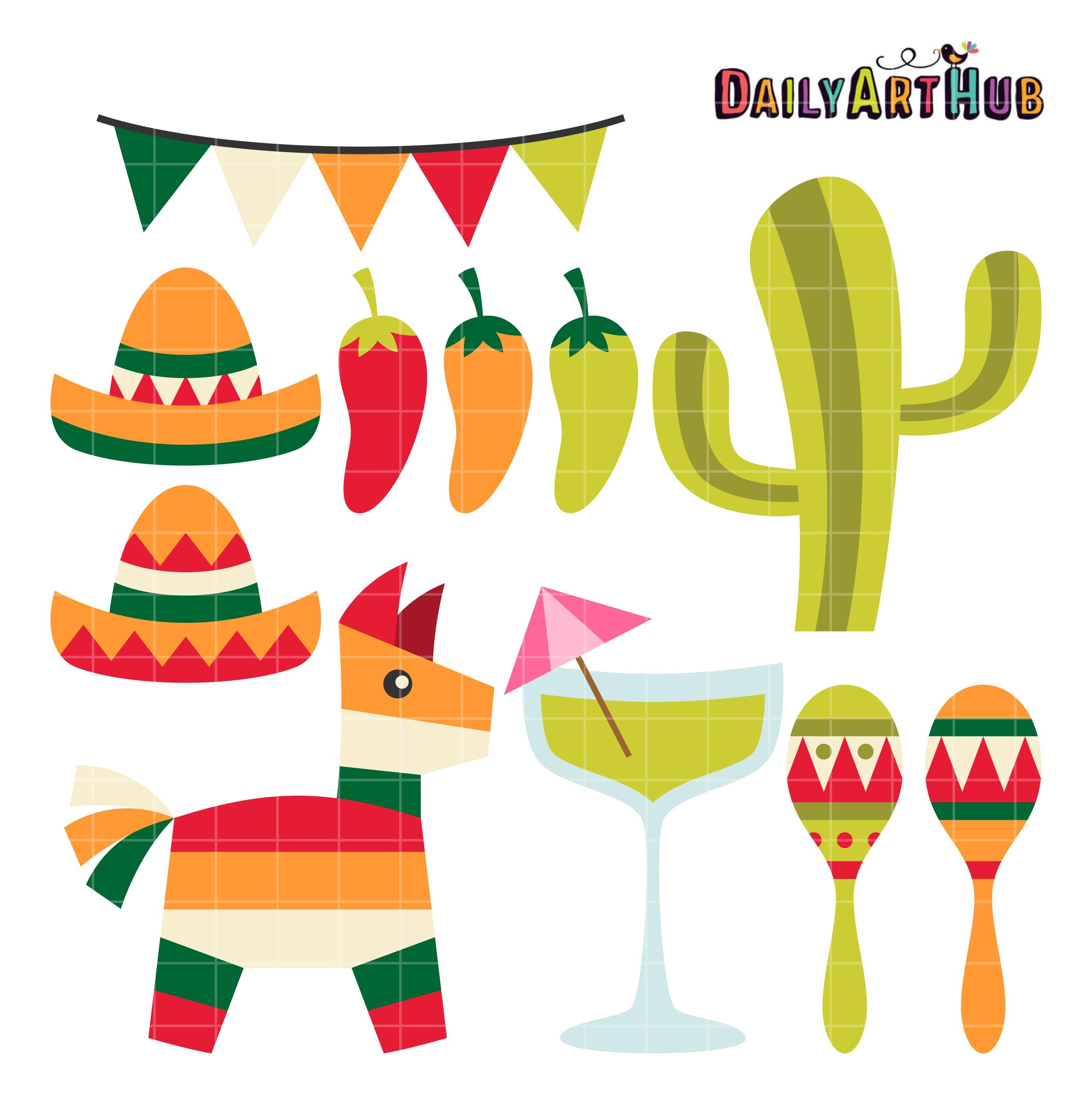 Cinco De Mayo Fiesta Clip Art Set.