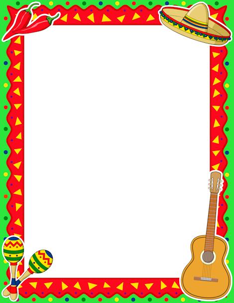 Printable Cinco de Mayo border. Free GIF, JPG, PDF, and PNG.