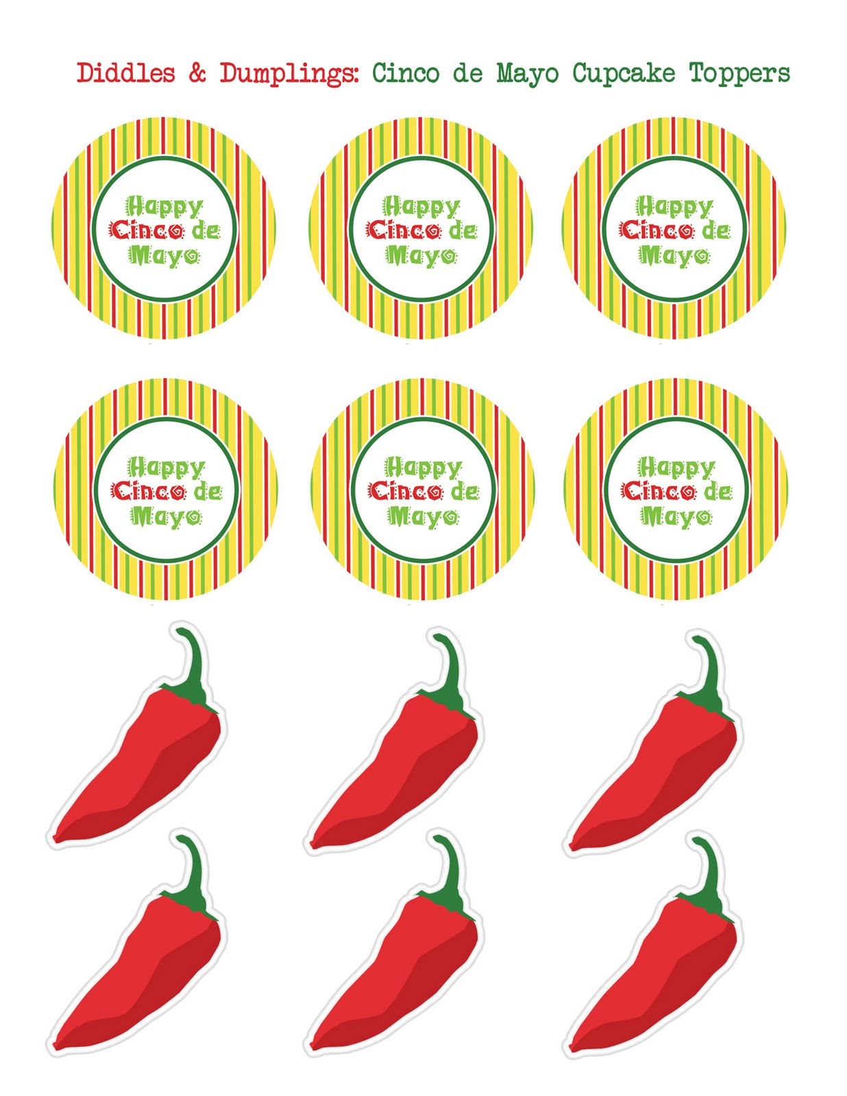 Diddles and Dumplings: Cinco de Mayo Printable Cupcake Toppers.
