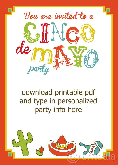 Cinco De Mayo Birthday Clipart Card.