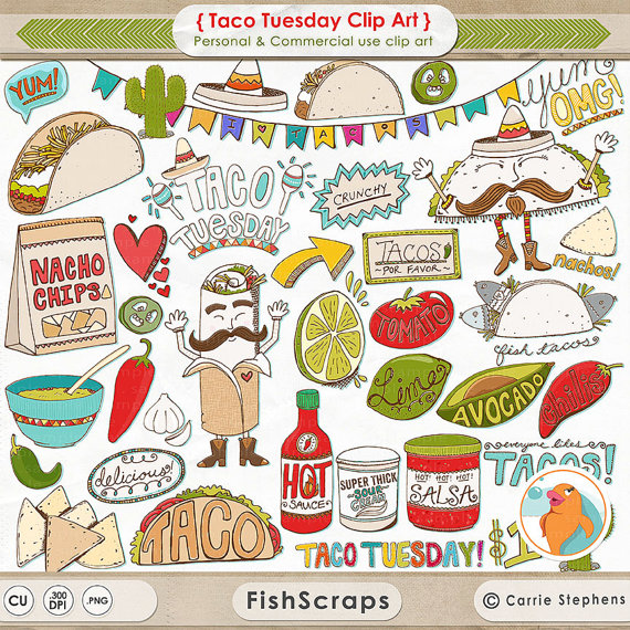 75% SALE Taco Tuesday Clip Art, Cinco de mayo, Mexican Fiesta Menu.