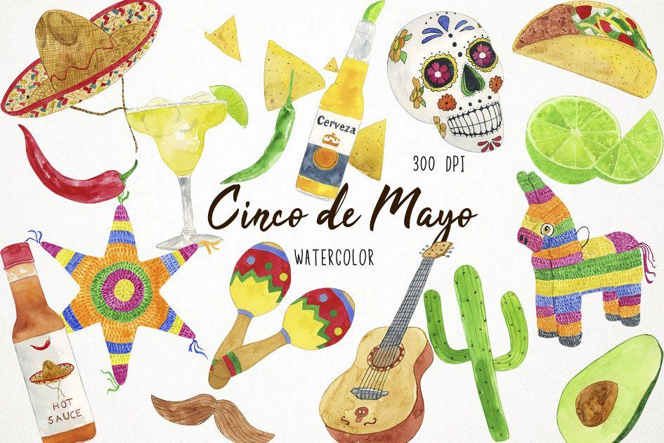 Watercolor Fiesta Clipart, Cinco de Mayo Clipart.